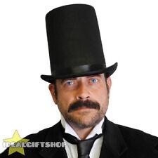 BLACK FELT TALL TOP HAT ADULTS FANCY DRESS VICTORIAN RINGMASTER MAGICIAN