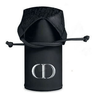 Dior CD black logo Brush Makeup cosmetic drawstring Case Bag pouch faux leather