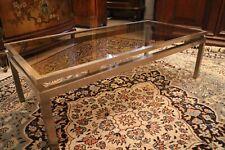 Table basse de salon métal brossé verre teinté design contemporain