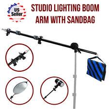 Photo Studio Extendable Lighting Reflector Holder Boom Arm & Sandbag Combo Kit