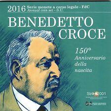 Euro ITALIA 2016 Folder Ufficiale 10 monete FDC Benedetto CROCE