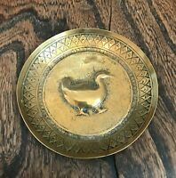 Vintage Brass Dodo Bird Pin Trinket Tray Round Dish with Makers initials KAA