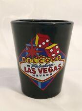 Black Welcome To Fabulous Las Vegas Shot Glass Retro Vegas Sign Graphic