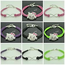 1PC 10PCS LEATHER CORD KIDS BRACELET WITH HELLO KITTY / INFINITY STYLE DESIGN