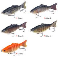 7-segment Minnow Fishing Lures Crank Bait Hooks Bass Tackle Sinking Popper 10CM