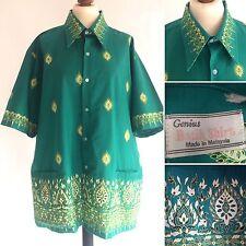 Vintage Genius Green Java Batik Shirt Size Large 46 48 Chest Rockabilly 50s