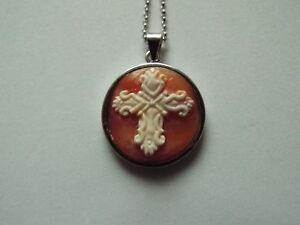 Master Hand carved Carnelian Conch Shell Cameo pendant set into sterling silver
