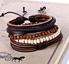 UK Multi Row Layer Stacker Bracelet Bangle Leather Bead Wristband for Men Ladies