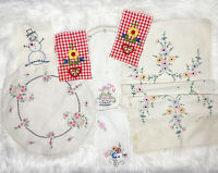Lot Vintage Hand Embroidered Cutter Linens Scrap Crafts Floral Fabric Quilt