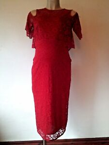 STUNNING NEXT RED LACE MATERNITY EVENING FORMAL DRESS SIZE 8 10 12 BNWT RRP £58