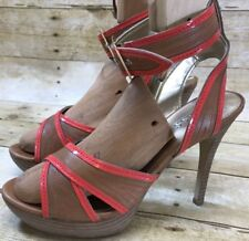 Women Guess Platform Stilletto Heel Ankle Strap Sandal Brown Orange Size 8