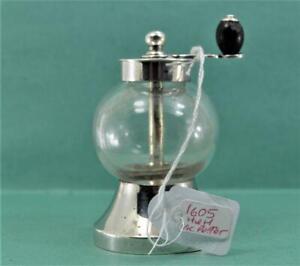Victorian Pepper Grinder Glass Sterling Silver JTH & JHM 1889 Dr C Dresser