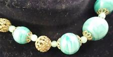 Vtg Jade Green slag glass Jadeite graduated filigree gold beads necklace 22""