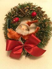 Vintage Bottlebrush Wreath With Chenille Santa Spun Cotton Head Xmas Ornament