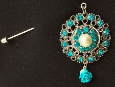 Blue Filigree Design With Blue Rose Drop On Stick Pin Brooch Fashion Pin Scarf