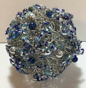 Sphere Metal Wire Beads Decorative Ball Silver Blue White Bowl Filler