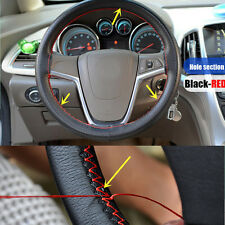 Car Truck Leather Steering Wheel Cover With Needles and Red Thread Black DIY A