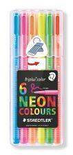 Staedtler Triplus NEON Colours Desktop Box Pack of 6 Felt Fibre Tip Pens 1mm Tip