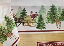 "Printed Linen Tablecloth 60""x120"" (10-12 ppl) Oblong, WINTER, SANTA'S SLEIGH, BM"