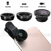 3 in1 Clip On Camera Lens Kit Wide Angle Fish Eye Macro for Smart Phone Black