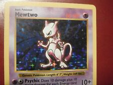 MEWTWO SHADOWLESS (OFF CENTER ENERGY!) POKEMON CARD 10/102 BASE-NM Rare- HOLO!