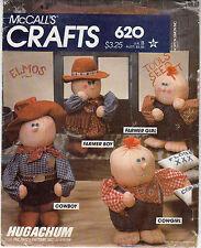 Hugachum Soft Sculpture Dolls Country Western McCalls Sewing Pattern 620 Uncut
