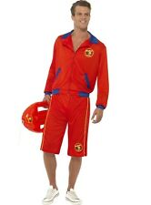 Baywatch Male Lifeguard Costume Top & Long Red Shorts Beach Smiffys Licensed Large
