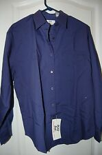 women's blouse navy blue M (16) long sleeves Witt's End new w/tag