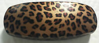 HARD spectacle glasses case colour LEOPARD velvet lined FREE cloth included