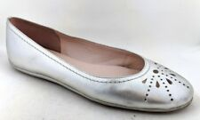 TALBOTS Women's Silver Leather Ballet Flats - Size 9.5