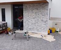 Grey & White Quartz Mixed Split Face 3D Wall Cladding tiles - Sparkly - SAMPLE
