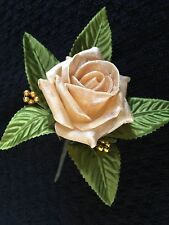 Wedding Flowers 12 x  NEW Georgeous Pearlised Gold Rose Buttonhole's
