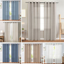 Windows Curtains Solid Drapes Grommets Top Linen Textured for Bedroom 2 Panels