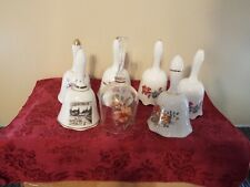 Six Porcelian & Glass Bell Collection Floral