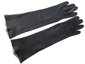 NAVY / BLUE-BLACK ELBOW-LENGTH LAMBSKIN GLOVES ITALY, unlined sz 6-1/2, VTG EUC