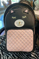 Luv Betsey Johnson Kitty Backpack Large Pink Black Quilted Front Pocket.