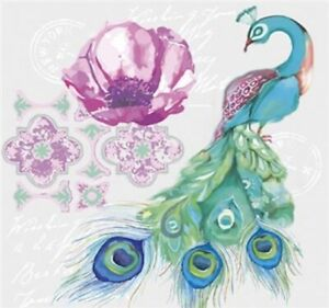Watercolor Peacock Postcard with Stamp Paper Lunch Napkins 20pcs Decoupage Craft
