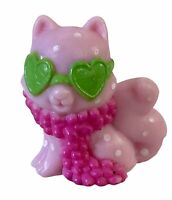 "Strawberry Shortcake 1"" Mini Doll Pet Custard Pink Cat w/ Green Glasses & Boa"