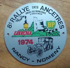 BADGE DE CALANDRE 8e Rallye des Ancêtres 1974 Nancy-Nomeny. BP - FIAT