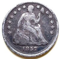 1857 Seated Liberty Half Dime U.S. 1/2 Dime Silver Coin - Nice Condition .