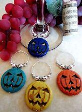 Halloween Pumpkin Wine Glass Charms Set of 4 Howlite Turquoise Holiday gift Idea