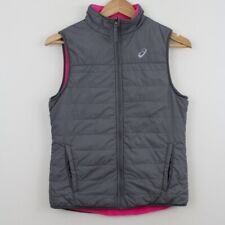 ASICS Gray Pink Reversible Fleece Vest Full Zip Womens Small