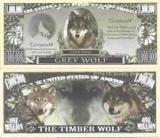 Grey Wolf Canis Lupus One Million Dollar Bills x 2 Timber Wolves