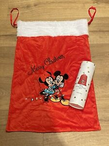 PRIMARK Disney Mickey & Minnie Mouse Large Fluffy Red Christmas Sack Stocking