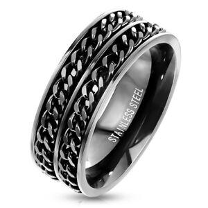 Mens Black STAINLESS STEEL Double Chain Ring Band Spin Spinner UK SELLER Fidget