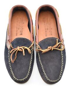 NEW - MiUSA   YUKETEN 8E NAVY SUEDE BROWN LEATHER MOCCASIN SHOES