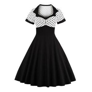 Plus Size Womens Vintage 50s 60s Polka Dot Rockabilly Party Evening Swing Dress