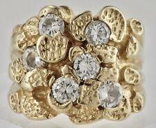 Nugget Style Men's Ring Size 8 3/4 Vintage 14K Yellow Gold 1.25 Cttw Diamond