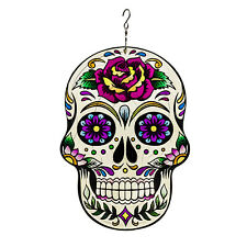 Wind Spinner 3D Stainless Steel Sugar Skull Unique Decoration for Home Outdoor