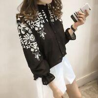 Women Long Sleeve Embroidery Loose Blouse Shirt Korean Flower Tops Fresh Shirt